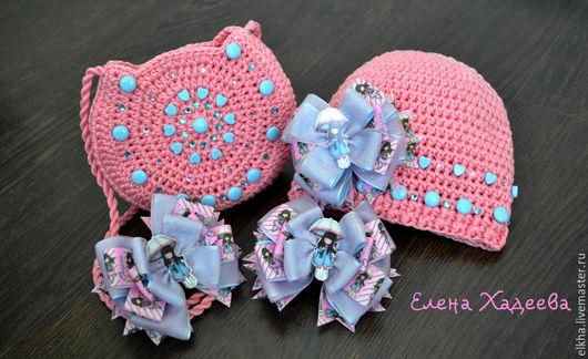 """Одежда для девочек, ручной работы. Ярмарка Мастеров - ручная работа. Купить Комплект - """"Девочка с зонтиком"""". Handmade. Розовый, шапочка детская"""
