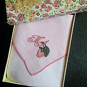 Аксессуары handmade. Livemaster - original item Handkerchief women`s embroidered Strawberries and Monogram. Handmade.