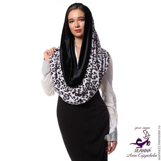 Дизайнер Анна Сердюкова (Дом Моды SEANNA).  Снуд, шарф, хомут двусторонний стрейч `Барс с бархатом`. Безразмерный. Цена - 3950 руб.
