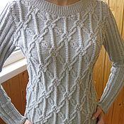 Одежда ручной работы. Ярмарка Мастеров - ручная работа Джемпер  женский вязаный  (пуловер) серый. Handmade.