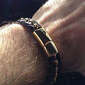 Украшения handmade. Livemaster - original item Leather men`s bracelet with steel gilded inserts. Handmade.