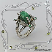 handmade. Livemaster - original item Tropicana-super ring 925 silver, natural emeralds. VIDEO. Handmade.
