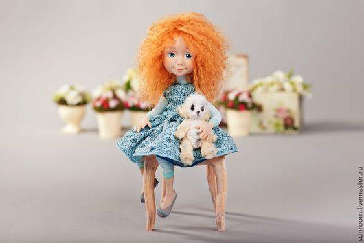 Коллекционные куклы ручной работы. Ярмарка Мастеров - ручная работа. Купить Даринка. Handmade. Голубой, рыжая девочка, тедди