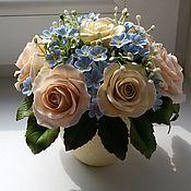 Композиции ручной работы. Ярмарка Мастеров - ручная работа Нежный букетик из чайных роз. Handmade.