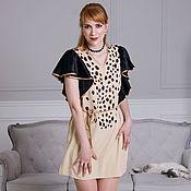 Одежда handmade. Livemaster - original item Leopard dress with wing sleeves, short beige Lynx dress. Handmade.