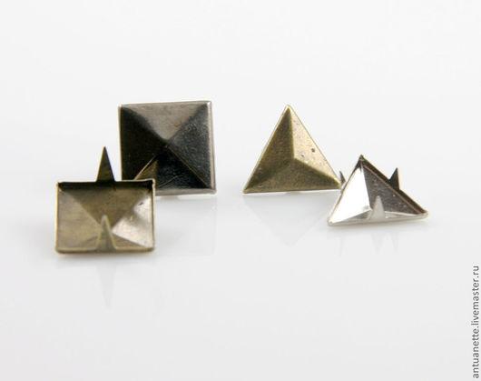 """Шитье ручной работы. Ярмарка Мастеров - ручная работа. Купить Металлические клепки на усиках, """"квадрат и треугольник"""" (50шт.). Handmade."""