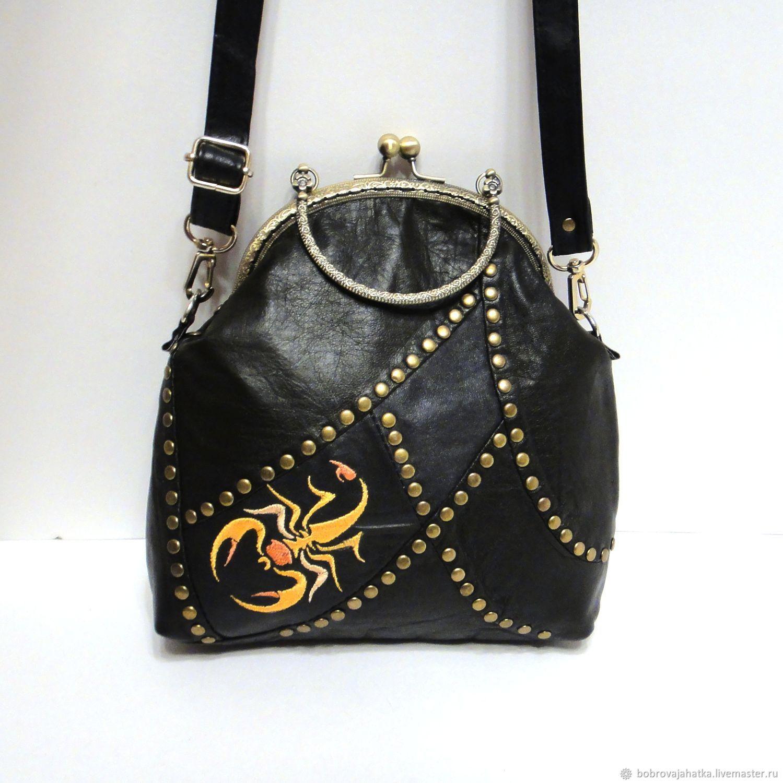 43ec1e994f11 Женские сумки ручной работы. Ярмарка Мастеров - ручная работа. Купить  Черная кожаная сумка Скорпион ...