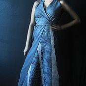 Одежда handmade. Livemaster - original item Blue Sleeveless Dress, Denim Sun Dress, Maxi Dress, Oversized Dress. Handmade.