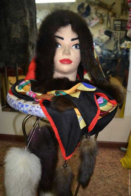 платок шёлк с отделкой из меха соболь