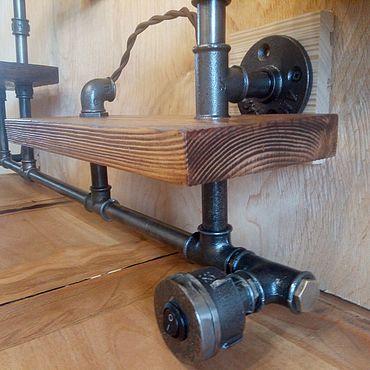 Мебель ручной работы. Ярмарка Мастеров - ручная работа Полка из стальных труб Лофт. Handmade.