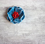 Украшения handmade. Livemaster - original item Blue felted brooch-flower. Handmade.