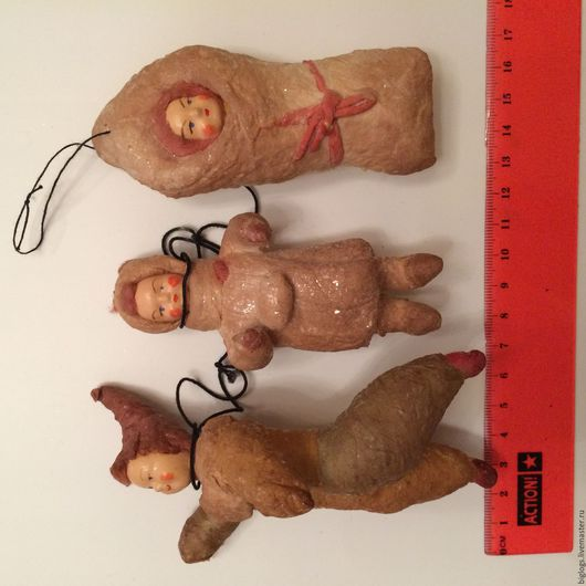 Винтажные куклы и игрушки. Ярмарка Мастеров - ручная работа. Купить Ёлочные игрушки. Handmade. Разноцветный