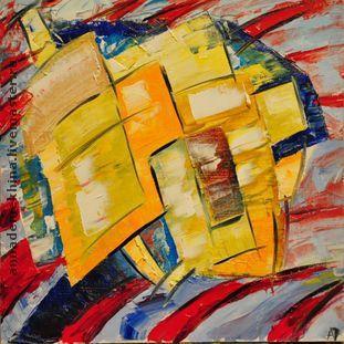 Абстракция ручной работы. Ярмарка Мастеров - ручная работа. Купить Абстракция1. Handmade. Абстракция желтый красный, картина маслом