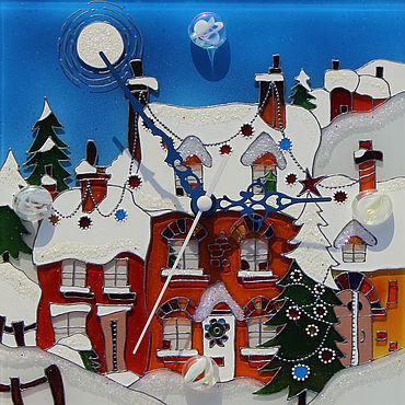 """Для дома и интерьера ручной работы. Ярмарка Мастеров - ручная работа Часы мини """"Альпийские домики"""". Handmade."""