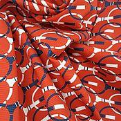 Материалы для творчества handmade. Livemaster - original item Fabric: Cotton red with Gucci rackets. Handmade.