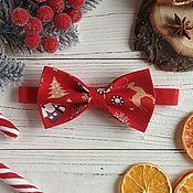Галстуки ручной работы. Ярмарка Мастеров - ручная работа Галстук бабочка красный новогодний. Handmade.