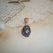 Украшения handmade. Livemaster - original item The pendant is made of large Baroque pearls black peacock