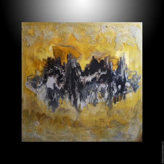 Животные ручной работы. Ярмарка Мастеров - ручная работа. Купить Золотая абстракция. Handmade. Золотой, картина для интерьера, золотой цвет