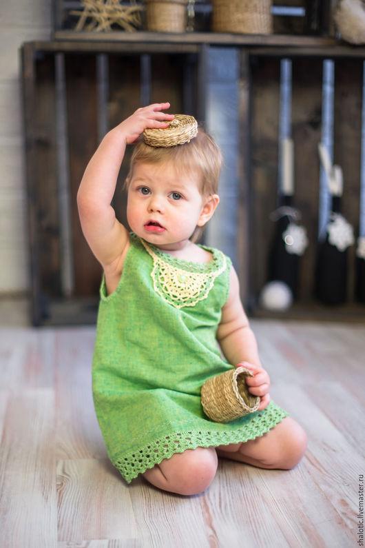 Льняное платье для девочки, летний сарафан для девочки, платья и сарафаны ручной работы, автор Юлия Льняная сказка
