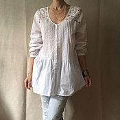 Одежда ручной работы. Ярмарка Мастеров - ручная работа Хлопковая блузка с кружевом  большой размер. Handmade.