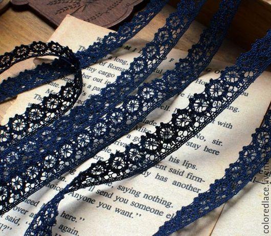 Шитье ручной работы. Ярмарка Мастеров - ручная работа. Купить Темно-синее хлопковое тонкое кружево арт. 175. Handmade.