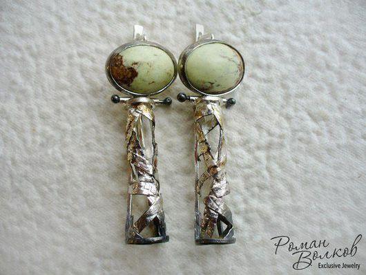 Серьги ручной работы. Ярмарка Мастеров - ручная работа. Купить серебряные серьги. Handmade. Серебро 925 пробы, серьги длинные