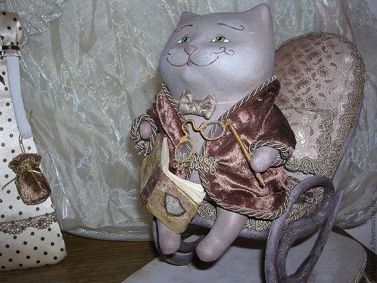Винтажный кот Базиль ,сделанный в  смешанной технике(папье-маше,текстиль)Авторская ручная работа .Малетина Елена.Ярмарка мастеров.