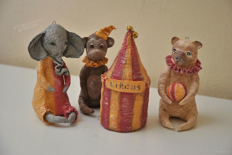 Ватная елочная  игрушка старый цирк  (набор из 4х игрушек ), Елочные игрушки, Харьков,  Фото №1