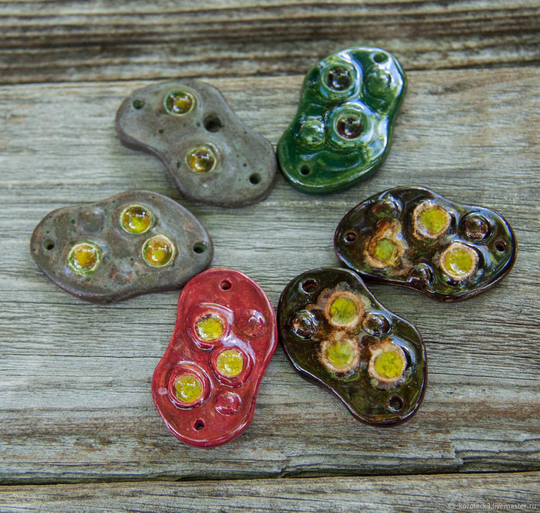Керамические бусины с декоративным стеклом и 2-мя отверстиями 1, Бусины, Москва, Фото №1