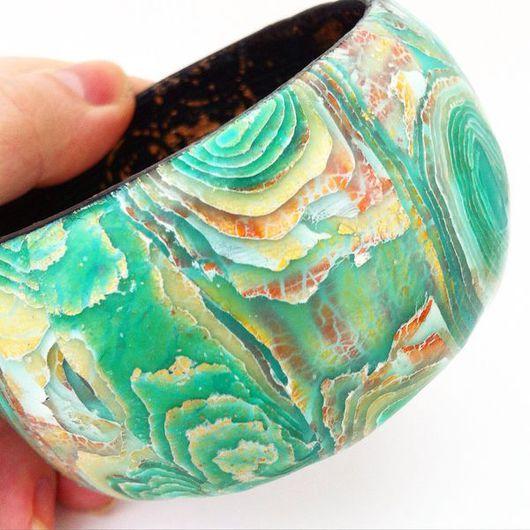 Браслеты ручной работы. Ярмарка Мастеров - ручная работа. Купить Браслет из полимерной глины ТАРАМБОЙ. Handmade. Зеленый, бохо-стиль