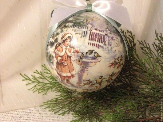 """Новый год 2017 ручной работы. Ярмарка Мастеров - ручная работа. Купить Большой елочный шар """"Девочка и птички"""". Handmade. Комбинированный"""