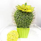 Цветы и флористика ручной работы. Ярмарка Мастеров - ручная работа Цветы из бисера кактус цветущий желтый. Handmade.