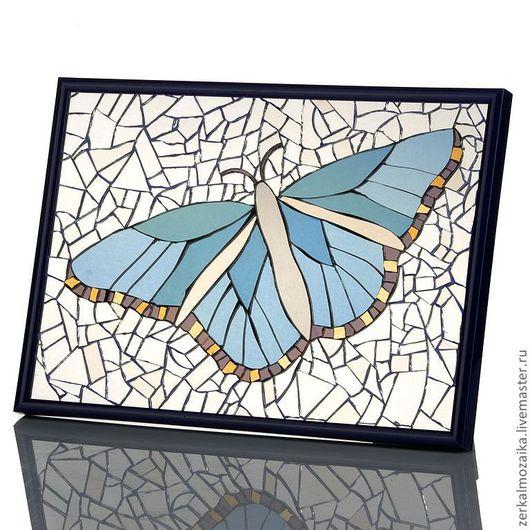 """Животные ручной работы. Ярмарка Мастеров - ручная работа. Купить Панно """"Голубая бабочка"""" из цветного зеркального стекла. Handmade. Голубой"""