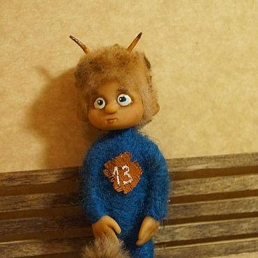 Куклы и игрушки ручной работы. Ярмарка Мастеров - ручная работа Чертенок 13 - игрушка подвеска. Handmade.
