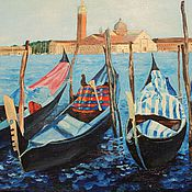 Картины и панно ручной работы. Ярмарка Мастеров - ручная работа 26.Картина маслом Венецианский причал Гондолы 30 на 40 см подарок маме. Handmade.