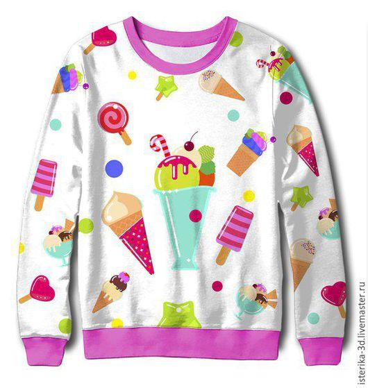 Кофты и свитера ручной работы. Ярмарка Мастеров - ручная работа. Купить Свитшот с принтом Мороженое  - отличный подарок ребенку. Handmade.