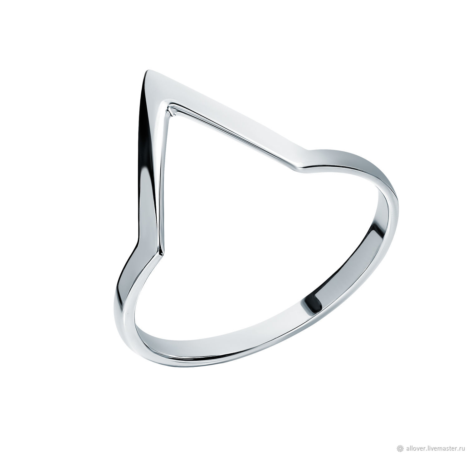 Silver glossy ring 'Peak' minimalism 925 silver, Rings, Moscow,  Фото №1
