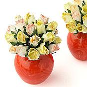 Куклы и игрушки ручной работы. Ярмарка Мастеров - ручная работа Розы букет кукольная миниатюра желтые цветы в вазе. Handmade.