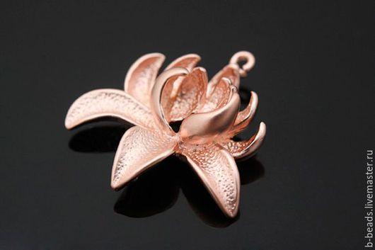 """Для украшений ручной работы. Ярмарка Мастеров - ручная работа. Купить Коннектор розовая позолота """" Лотос """". Handmade."""