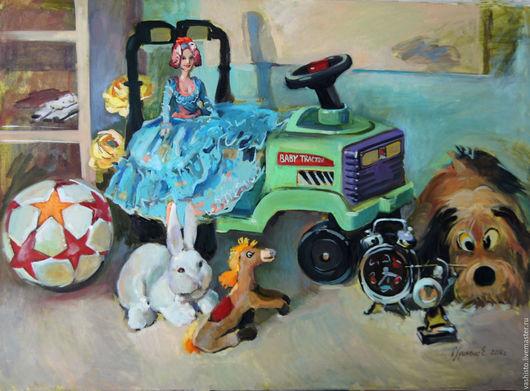 Картина с изображением игрушек. Яркая, детская по сюжету картина с изображением куклы Барби на тракторе.