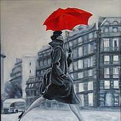 Картины и панно handmade. Livemaster - original item Oil painting Girl with red umbrella black and white Paris. Handmade.