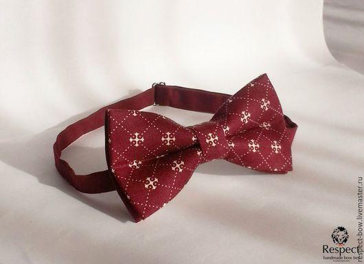 Галстуки, бабочки ручной работы. Ярмарка Мастеров - ручная работа. Купить Галстук бабочка Доблесть / бордовая бабочка-галстук, крест, ромбы. Handmade.