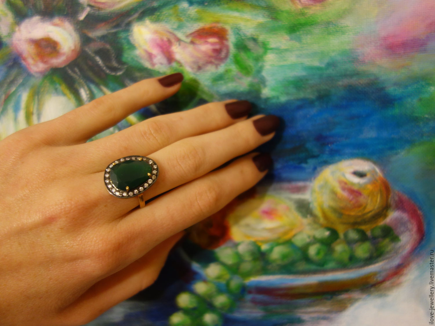 'Marcellino' - fancy silver ring with green onyx, Rings, Moscow,  Фото №1