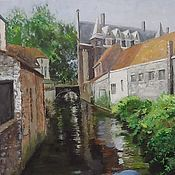 Картины и панно handmade. Livemaster - original item Oil painting a Street in Bruges with a canal landscape On canvas. Handmade.
