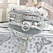 Украшения handmade. Livemaster - original item Boho-chic leather bracelet with stones and charms