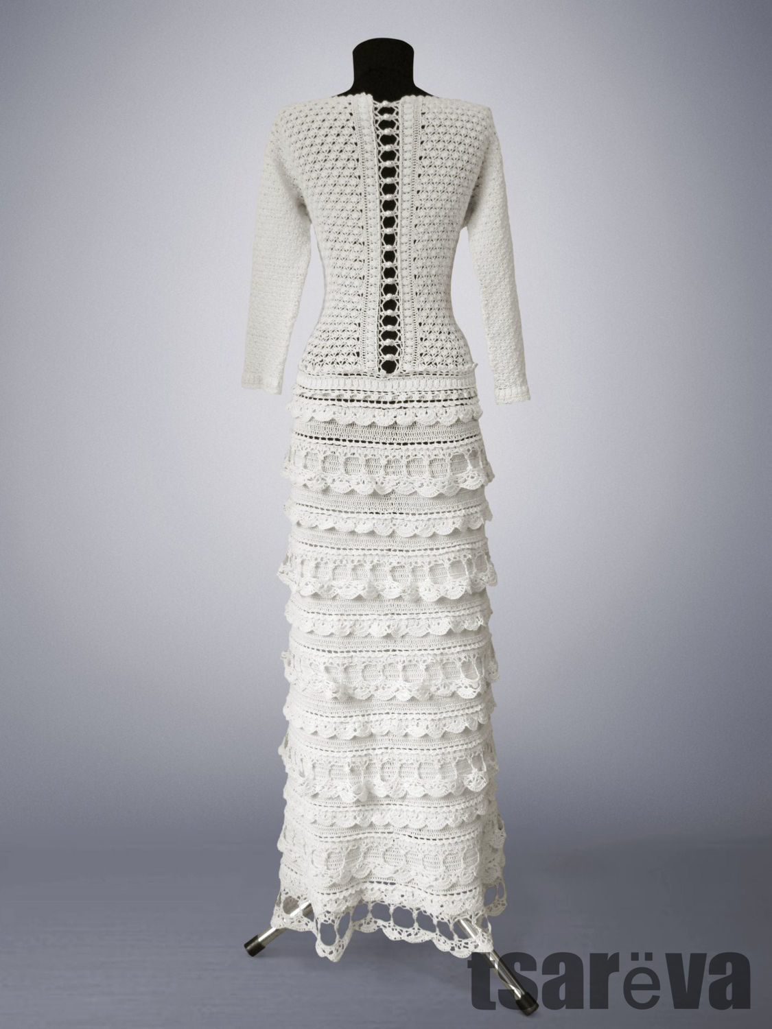 Crochet dress Diana. White maxi handmade wedding or evening dress ...