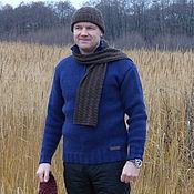 Одежда ручной работы. Ярмарка Мастеров - ручная работа Просто и тепло. Мужской свитер ручной вязки с высоким горлом на молнии. Handmade.