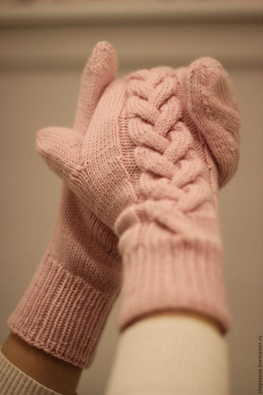 Варежки, митенки, перчатки ручной работы. Ярмарка Мастеров - ручная работа. Купить Рукавички для Машеньки из мериноса. Handmade. Бледно-розовый
