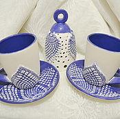 Чайные пары ручной работы. Ярмарка Мастеров - ручная работа Чайная пара - зимнее кружево. Handmade.