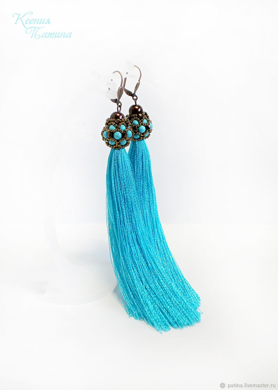Handmade jewelry. Earrings tassels Turquoise and chocolate. Ksenia Patina. Fair Masters.